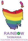 Rainbow Tasmania Tourism Accreditation Logo